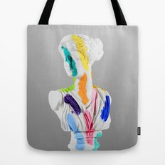 A Grecian Bust With Color Tests Tote Bag