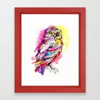 Neon Northern Pygmy Owl Framed Art Print