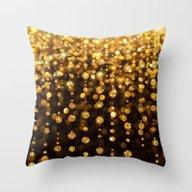 Golden Glitter Throw Pillow