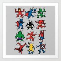 Keith Superheroes Art Print