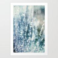 Blue Grass Drops Art Print