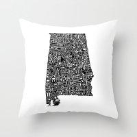 Typographic Alabama Throw Pillow
