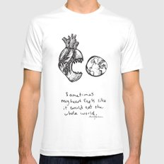 for the heart-hungry White SMALL Mens Fitted Tee