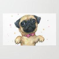 Cute Pug Puppy Dog Water… Rug