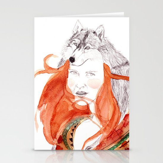 Wolf Girl Stationery Card