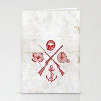 Skull Flower Rifle Bicyc… Stationery Cards