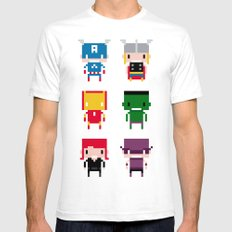 Pixel Avengers Mens Fitted Tee White SMALL