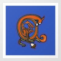 Medieval Blue Squirrel letter A Art Print