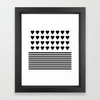 Heart Stripes Black On W… Framed Art Print