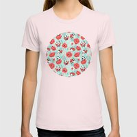 Poppy Pandas Womens Fitted Tee Light Pink SMALL