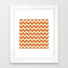 Orange Linen Chevron Framed Art Print