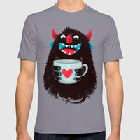 Demon with a cup of coffee (contrast) Mens Fitted Tee Slate SMALL