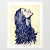 portrait Art Prints featuring Bloom by KatePowellArt