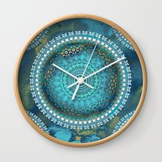 Aqua Cloud Mandala Wall Clock