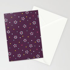 Floral Pattern In Purple And Dots Stationery Cards