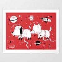 Astro dogs Art Print