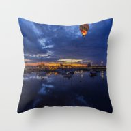 Throw Pillow featuring Harbour Night Flight by Ian Mitchell
