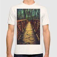 Cross The Bridge. Mens Fitted Tee Natural SMALL