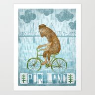Art Print featuring Dirty Wet Bigfoot Hipste… by Santiago Uceda