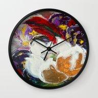 Purple Peonies In Gold W… Wall Clock