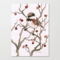 Chickadee & Berries Canvas Print