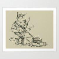 Rhino Mower Art Print