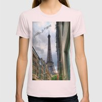 paris, je t'aime Womens Fitted Tee Light Pink SMALL