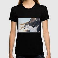 Mountain Snow in the Sun Womens Fitted Tee Black SMALL