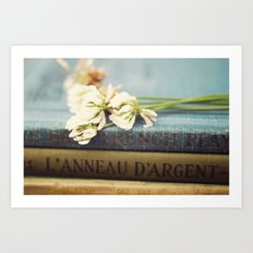 vintage books and clovers Art Print