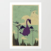 dragon Art Prints featuring I Got this! by Yetiland