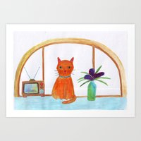 cat in a apartment  Art Print