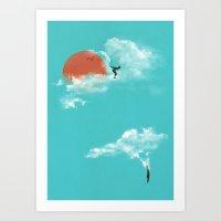 Skydivers (recolor) Art Print