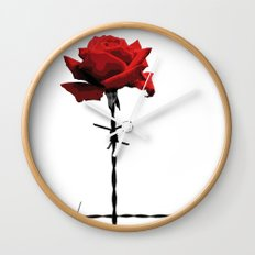 Barbed wire red rose Wall Clock