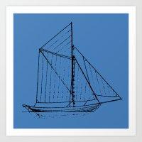 Eka Blue Art Print