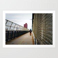 Walking on the Manhattan Bridge Art Print