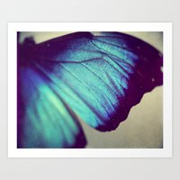 Black And Blue Wing Art Print