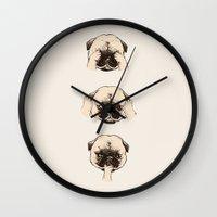 No Evil Pug  Wall Clock