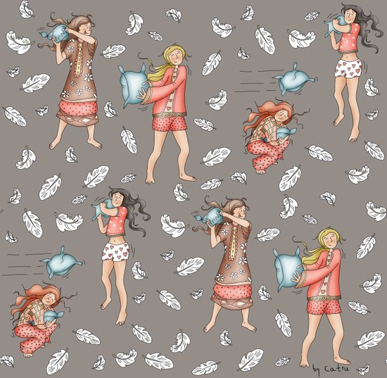 Pillow Fun Fight! Art Print
