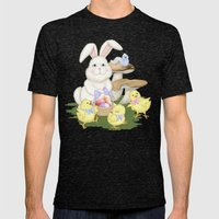 White Rabbit and Easter Friends Mens Fitted Tee Tri-Black SMALL