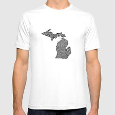 Typographic Michigan SMALL Mens Fitted Tee White