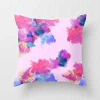 Printed Silk Rose Clouds Throw Pillow
