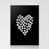 Hearts On Heart White On… Stationery Cards