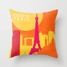 travel to Paris Throw Pillow