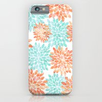 iPhone & iPod Case featuring aqua and coral flowers by Sylvia Cook Photography