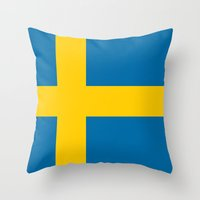 National flag of Sweden Throw Pillow