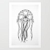 Dreamcatcher Jellyfish - Ink Art Print