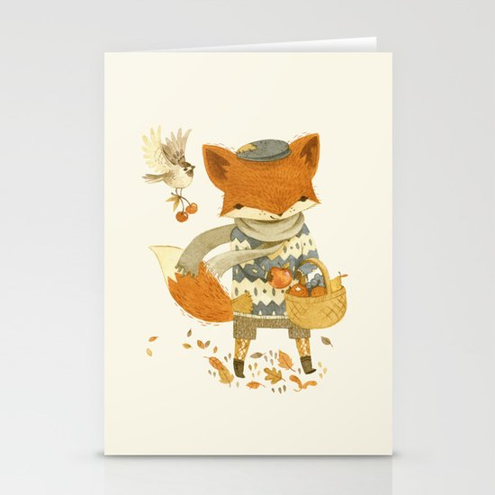 Fritz the Fruit-Foraging Fox Stationery Card