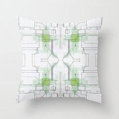 Circuit board green repeat Throw Pillow
