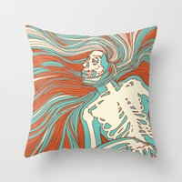 Skeleton Girl Throw Pillow