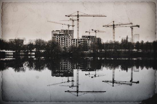 Industrial (retro postcard) Art Print